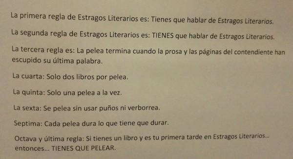 Reglas de un Estrago Literario